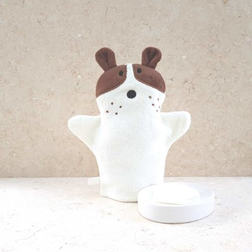 White Puppy Dog Baby Bath Mitt