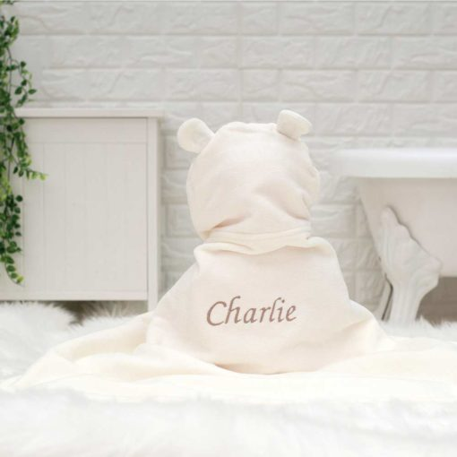 Personalised Teddy baby gift towel, for Smiley Bear baby towel product listing