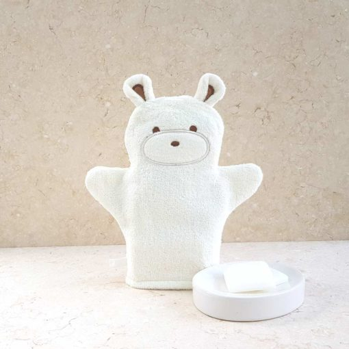 White Teddy Bear Baby Bath Mitt