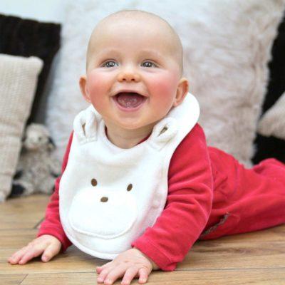 White Teddy Baby Bib