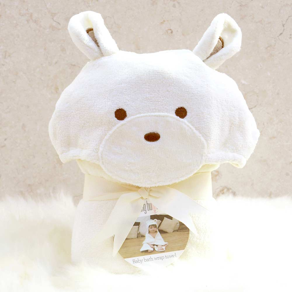 White Teddy Hooded Baby Bath Towel