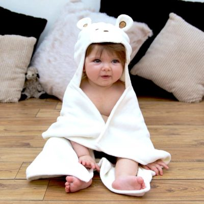 White Teddy Hooded Baby Towel