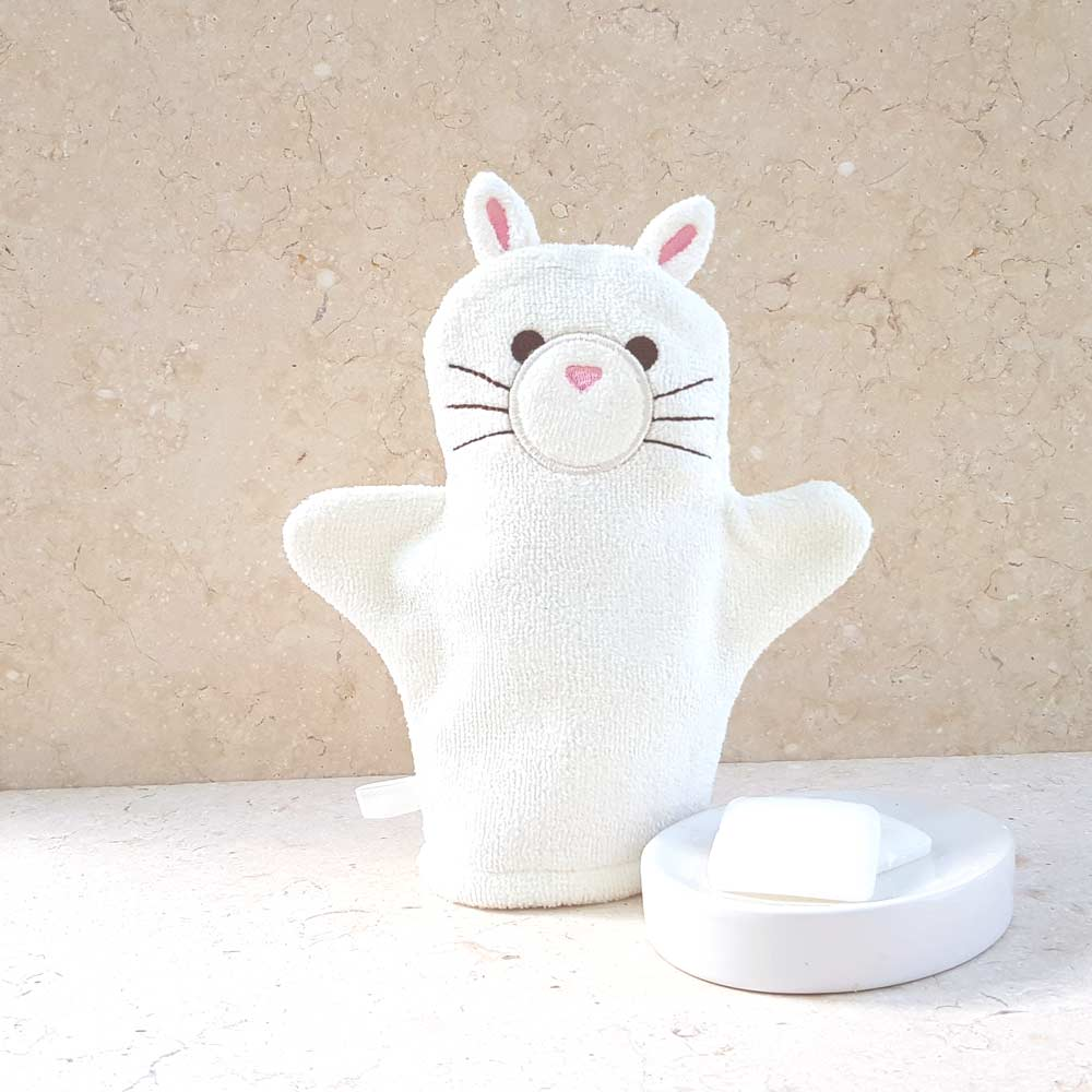 White Kitten Baby Bath Mitt