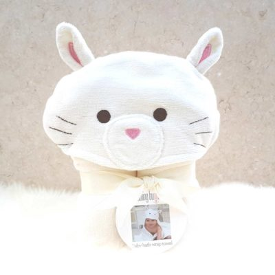 White Cat Hooded Baby Bath Towel