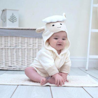 White Lamb Baby Bathrobe