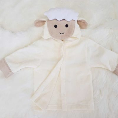 White Lamb Baby Hooded Bathrobe