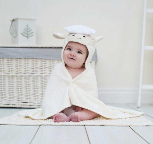 White Lamb Hooded Baby Towel