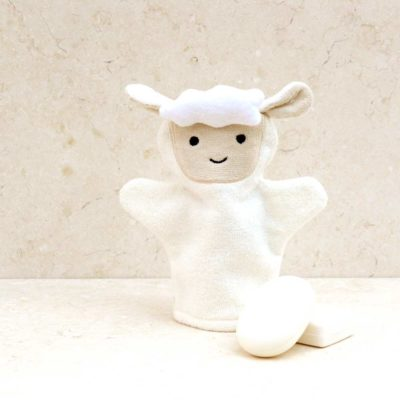 White Lamb Baby Bath Mitt
