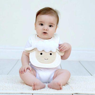 White Lamb Baby Bib