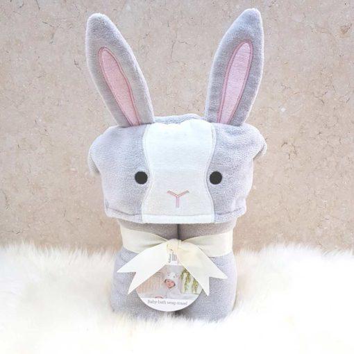 Grey Bunny Hooded Baby Towel