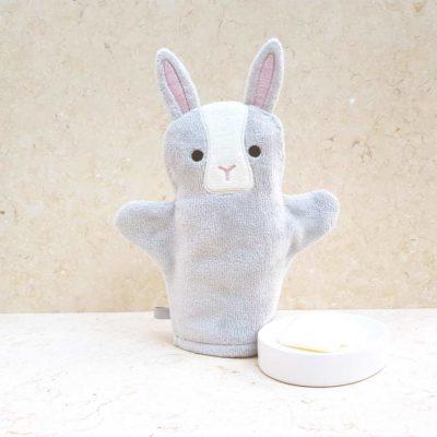 Grey Bunny Baby Bath Mitt