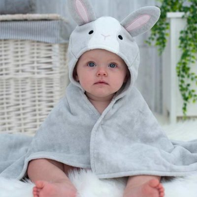 Grey Bunny Hooded Bath Baby Towel