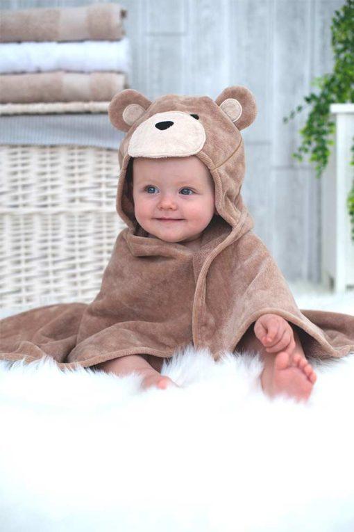Brown Teddy Bear Hooded Baby Bath Towel