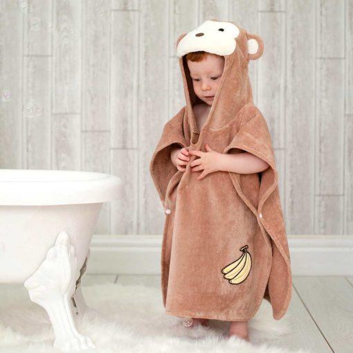 Brown Monkey Hooded Children Towel Poncho