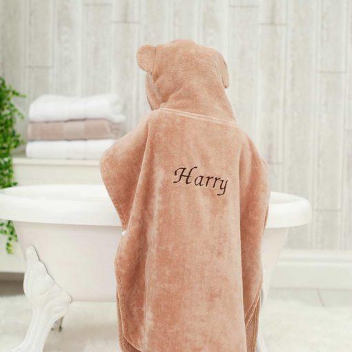 Personalised Brown Monkey Hooded Children Towel Poncho