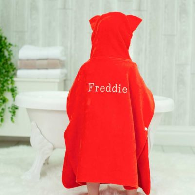 Red Fox Hooded Children Poncho Towel