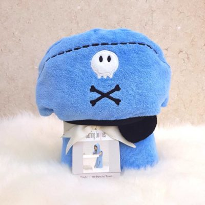 Blue Playful Pirate Hooded Children Poncho Towel